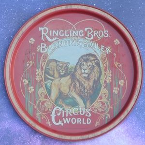 Vintage Ringling Bros Circus World Lion Metal Tray